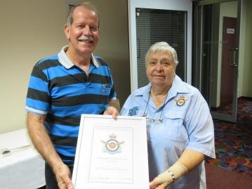 President Barbara Bower presenting AIRCDRE Tony Jones with Certificate as Branch Patron.JPG